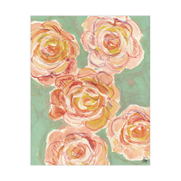 Antique Pink Roses On Green