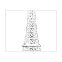 Triptych Eiffel Tower Drawing Middle