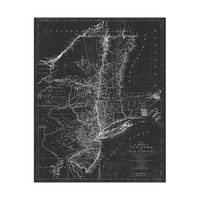 Gray Vintage New York Map