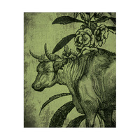 Cow With fFlower - Drawing Green