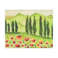 Tuscan Watercolor Field With Flowers
