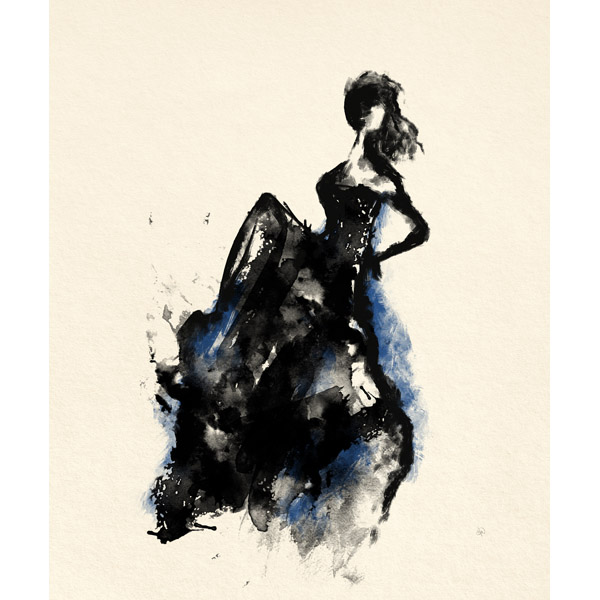 Woman in Dress Blue Accent