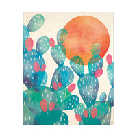 Watercolor Cactus Blue